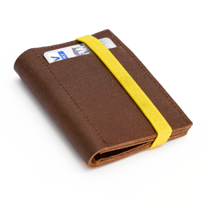 THE WALLET vr.II -  in brown / yellow band