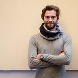 CANNOLI | Mocha pattern & Anthracite | Infinity Men scarf - GAZUR STUDIO