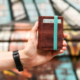 THE WALLET - in vintage brown / turquoise band - GAZUR STUDIO