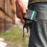 THE WALLET - in vintage black / turquoise band - GAZUR STUDIO