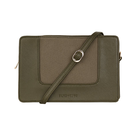 Liberty Crossbody - Khaki Saffiano & Canvas