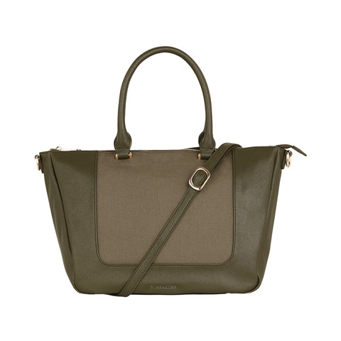 Liberty Handbag - Khaki Saffiano & Canvas