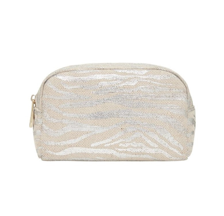 EK Small Cosmetics Bag - Silver Zebra