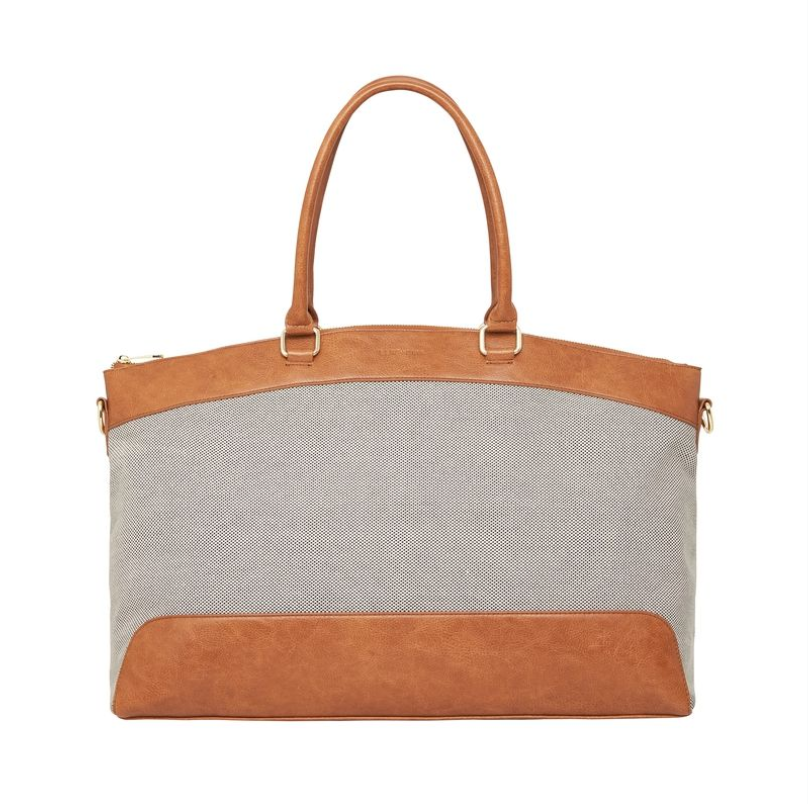 Bronte Overnight Bag - Tan Pebble with Canvas