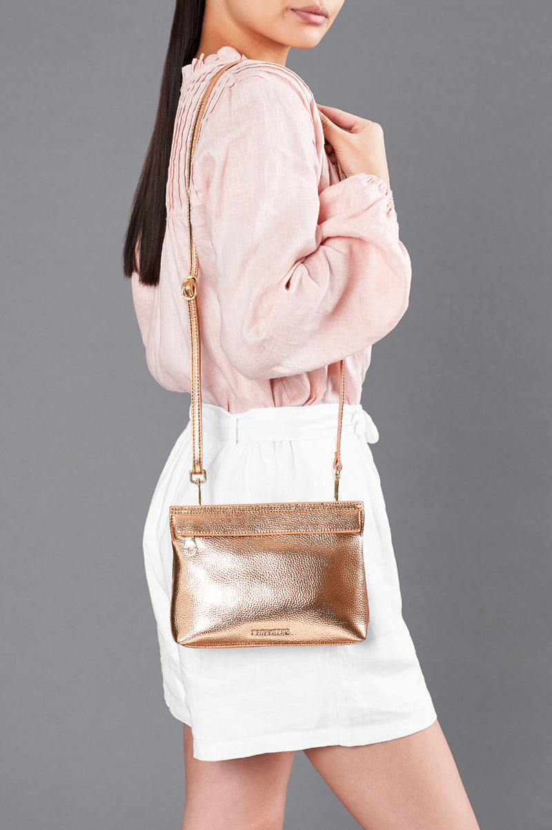 Amalfi Crossbody  - Metallic Rose