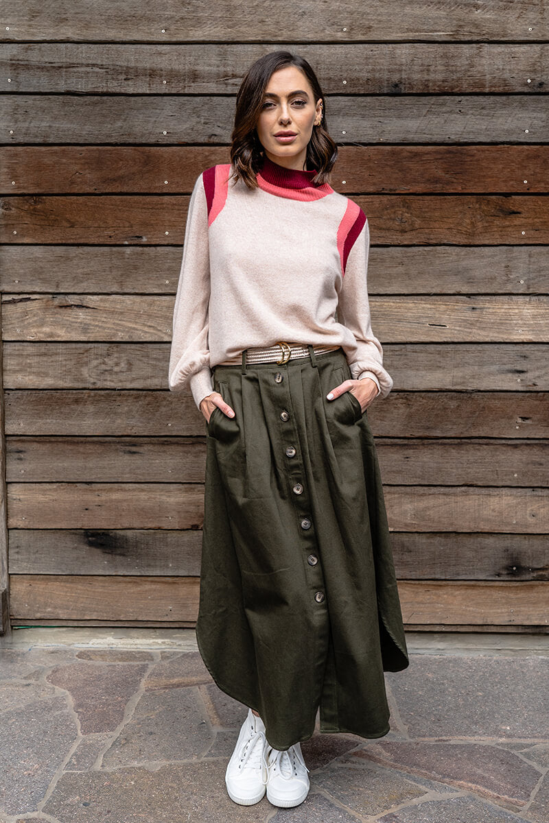 Avalon Midi Skirt - Khaki