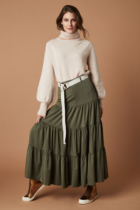 Byron Tiered Skirt - Olive
