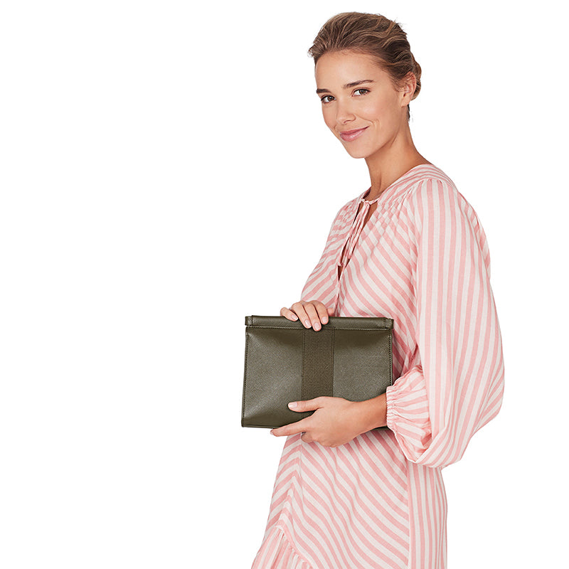 Lexington Clutch - Khaki Saffiano