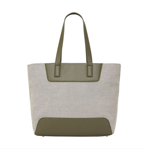 Bronte Zip Tote - Khaki with Canvas