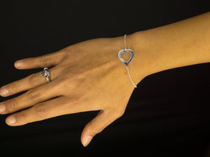 Cut Out Heart Engraved Vegan Bracelet