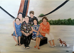 Commissioned painting of family under whale rail with dog added