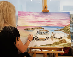 Commissioned painting of twilight cove with extra car added