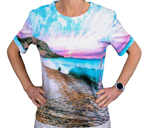 west beach wave front side t shirt beach wear