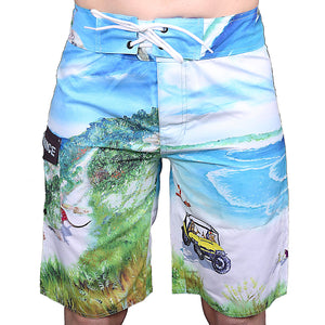 Critters at Twilight Cove front side of Board shorts
