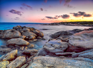 seal creek sunset rocks print