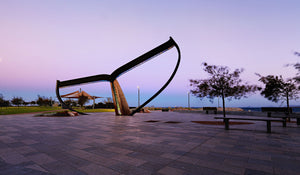Whale Tail Esperance iconic sculpture sunset.