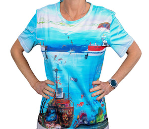 Fishy Tales Front t shirt artwork by Tania Lowe