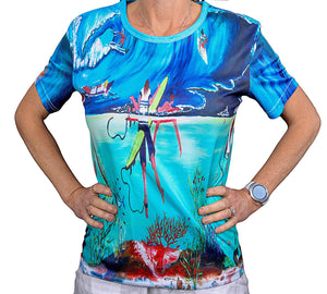 Kelps Surf Front of t shirt Tania Lowe art