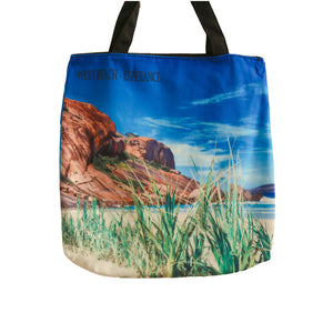 West beach grass and rock tote bag
