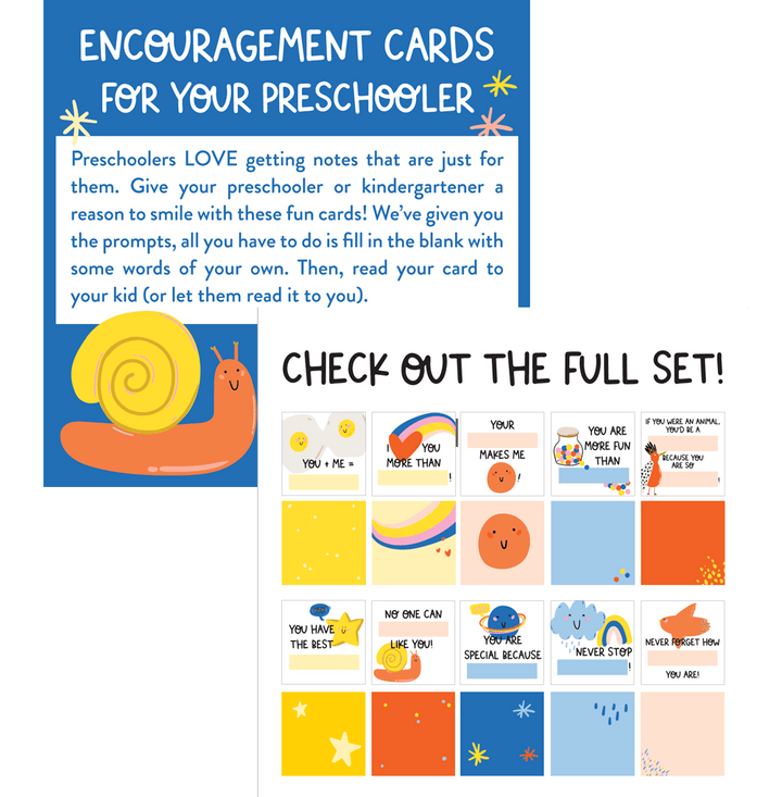 Encouragement cards for your preschooler