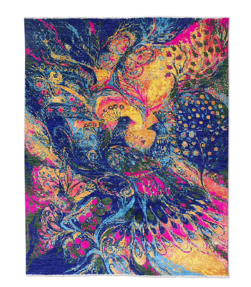boho hand-knotted peacock silk wool rug