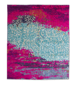pink hand-knotted boho silk wool rug