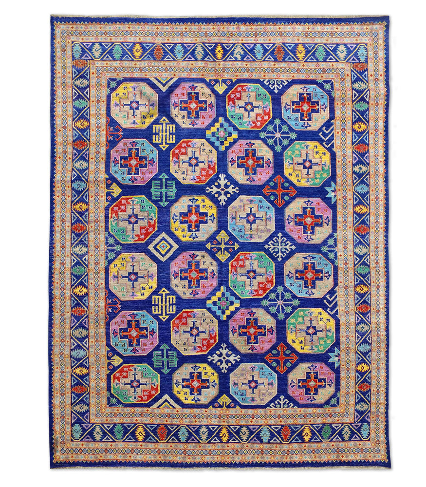 blue Hand-knotted tribal Suzani wool rug