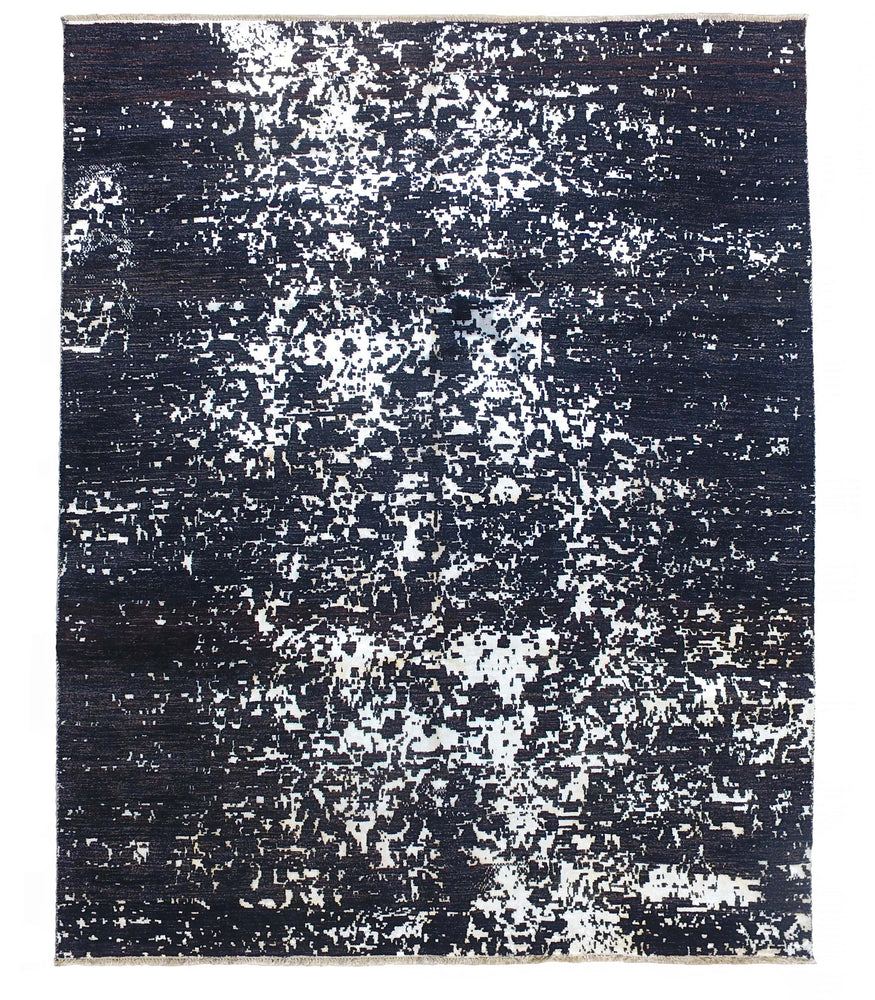 black and white hand-knotted soft silk & wool rug