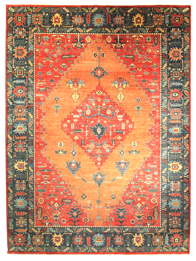 Orange Aztec boho hand-knotted natural wool rug