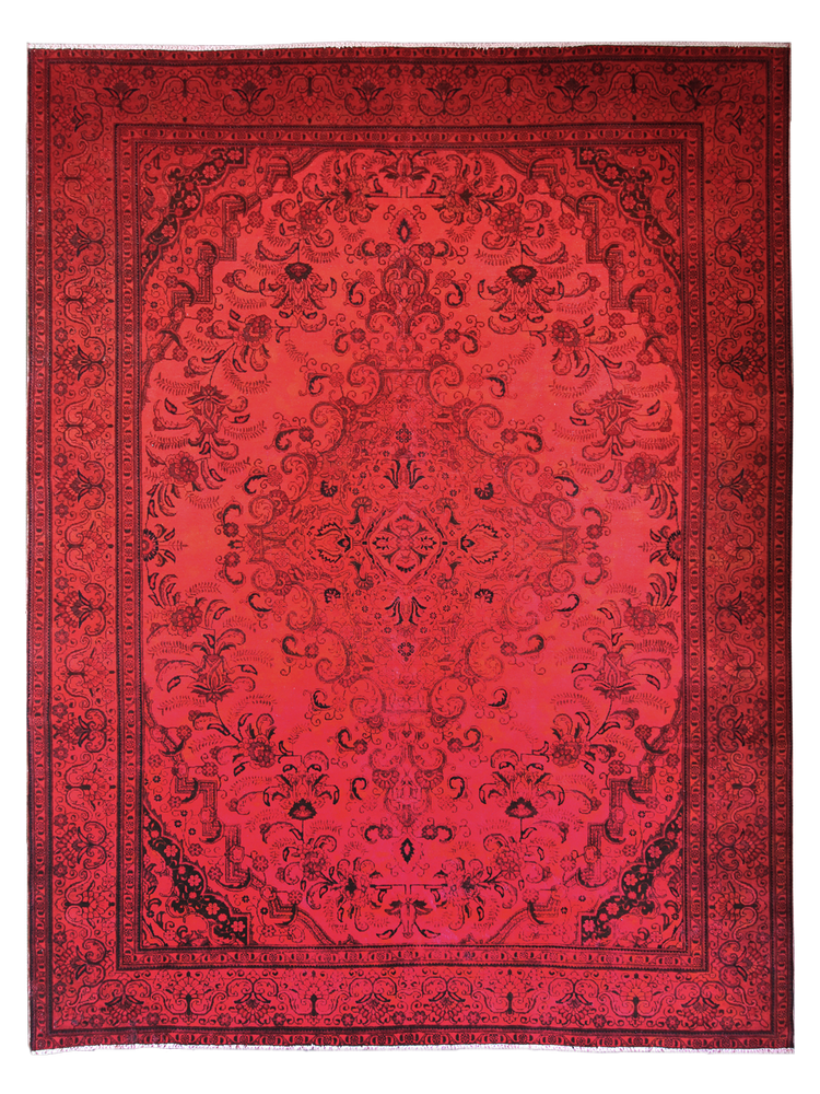 Red natural dye hand-made vintage Persian rug