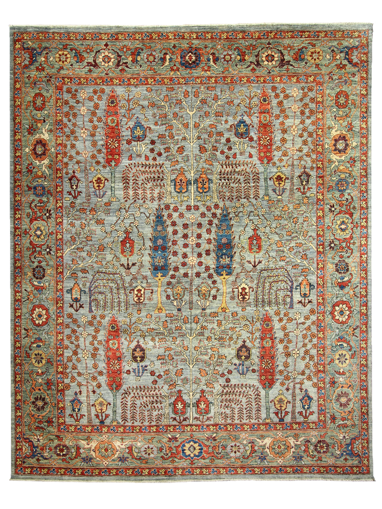 Motif hand-made natural wool bohemian boho rug