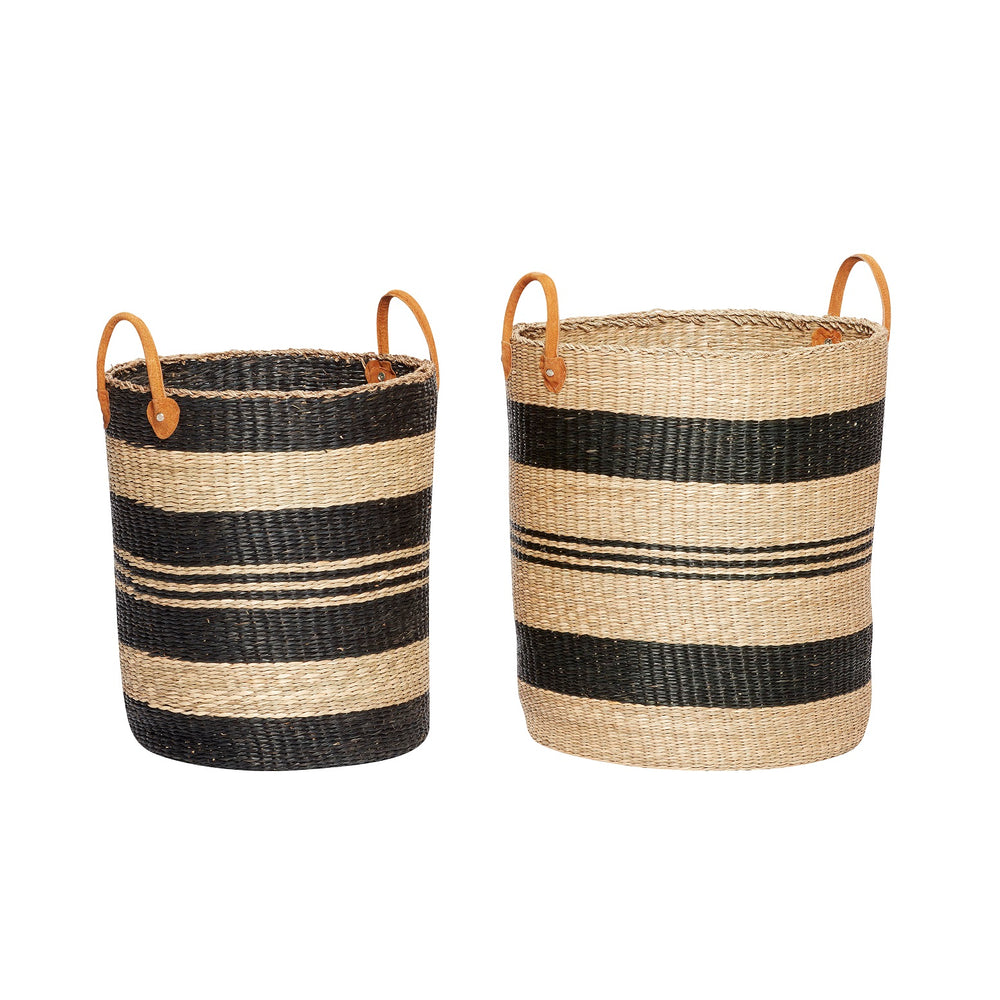 Stripes Seagrass Basket with Leather Handles