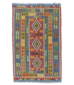 Ghazni multi-colour natural-dye wool kilim traditional boho hand-weave rug