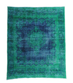 Emerald green vintage Persian natural over-dyed rug