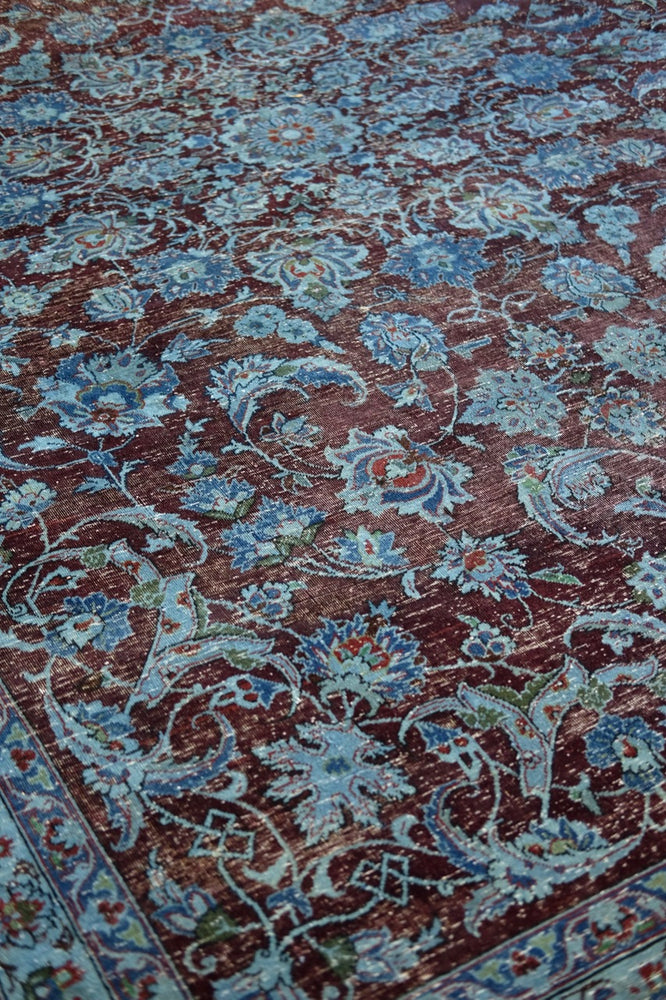 Blue natural dye hand-made vintage Persian rug