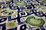 green Hand-knotted Suzani wool rug