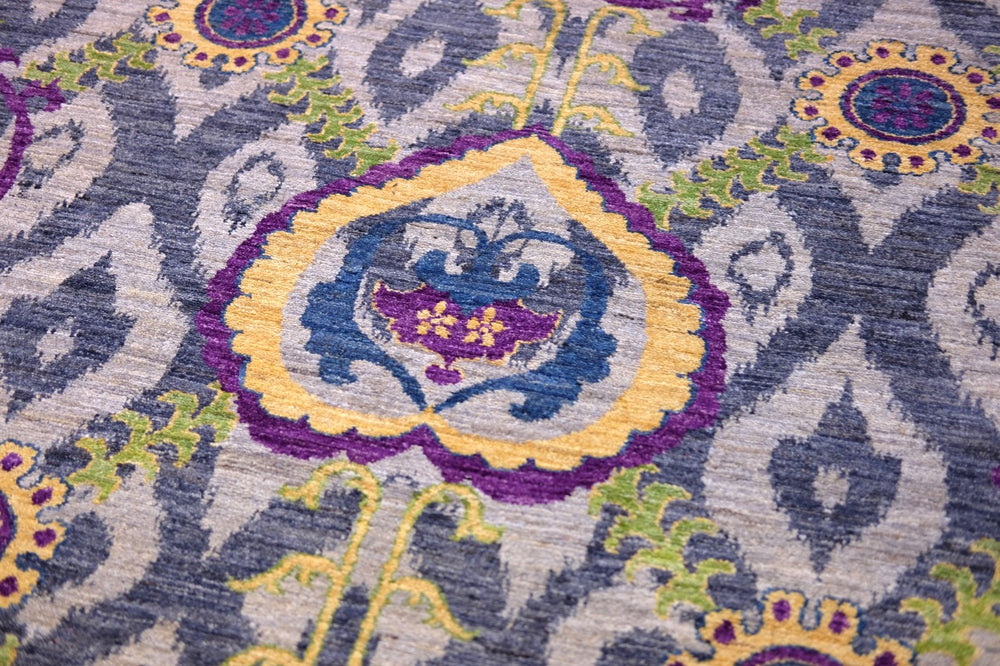purple Hand-knotted tribal Suzani wool rug