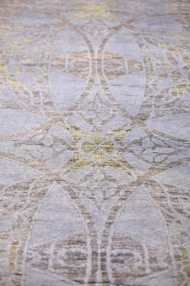 Hand-knotted over-dyed silk & wool rug