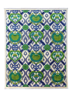 Green and blue hand-knotted Suzani tribal rug. Using natural vegetable dyes, our rugs are all unique and handmade This high quality 100% wool rug has beautiful patterns and motifs, mixing modern with traditional