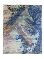 blue hand-knotted soft silk wool rug