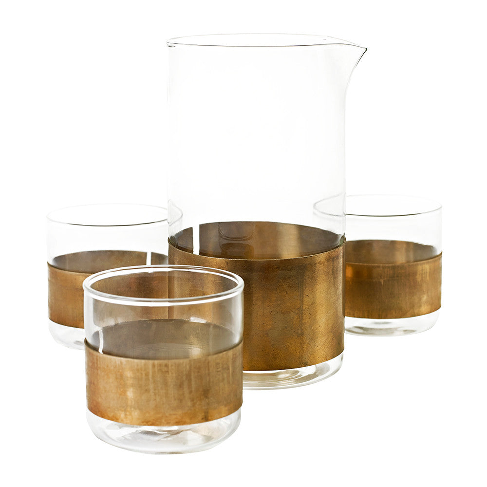 Copper Carafe + 4 Tumblers