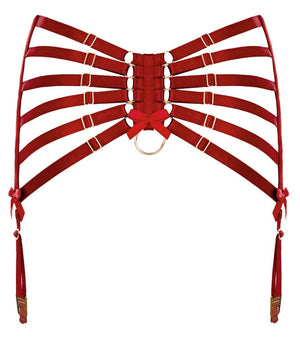 Bordelle Webbed Suspender Burnt Red