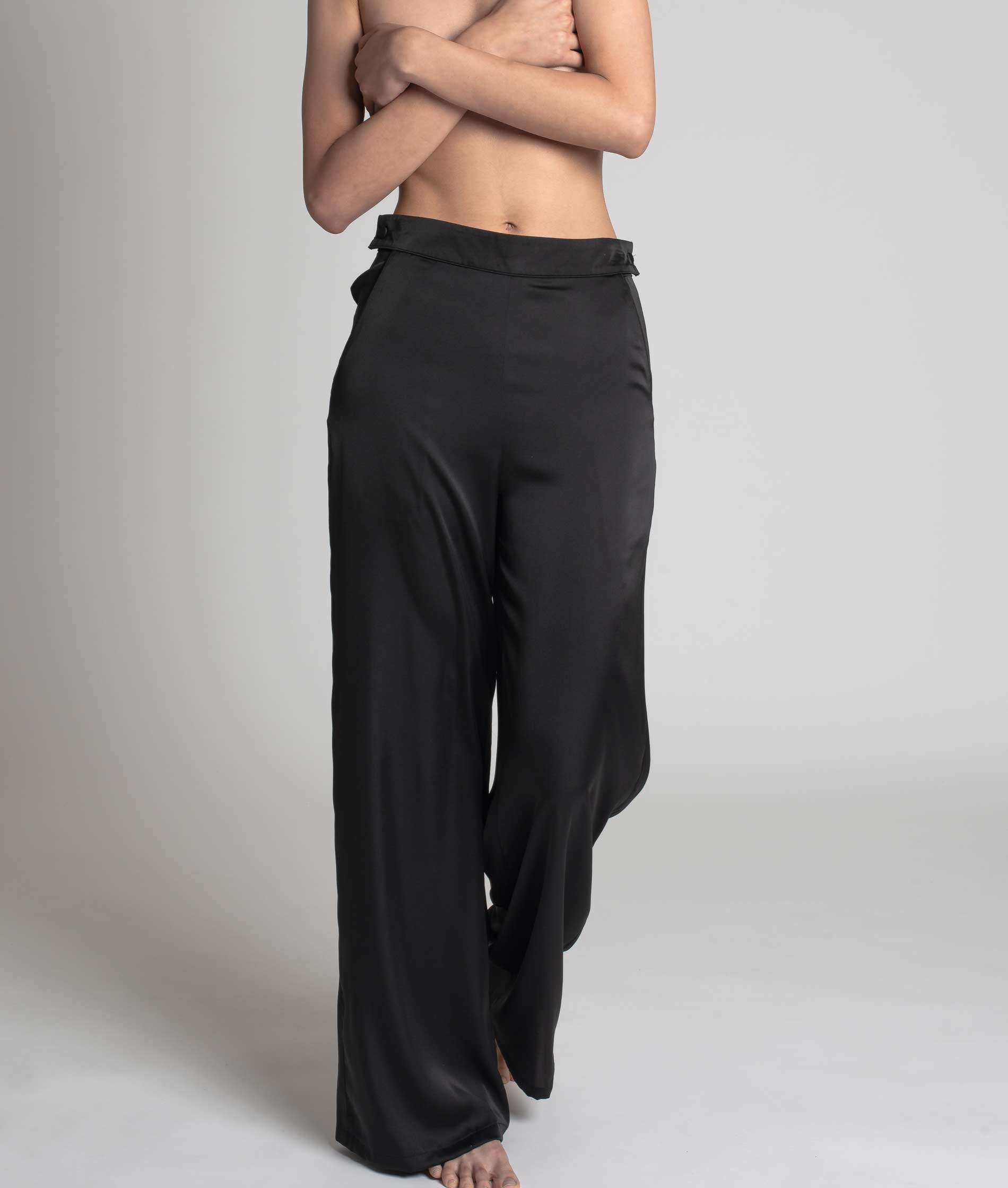 RAVEN + ROSE Hendrix Wide Leg Pants Black Piping