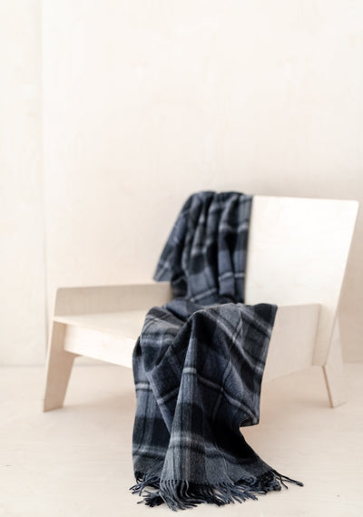 Lambswool Knee Blanket in Macrae Grey Tartan
