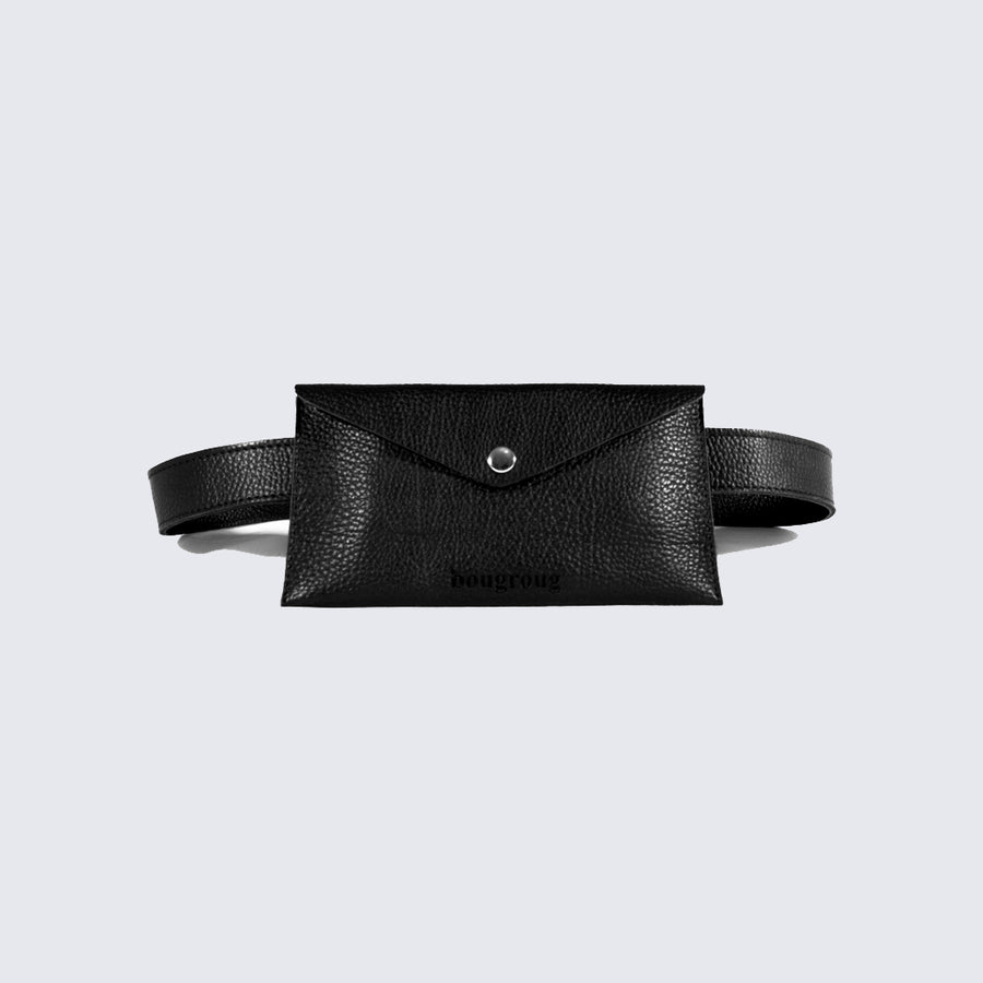 BOUGROUG_BLACK LEATHER BELT BAG