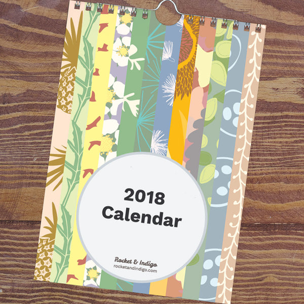 Rocket & Indigo pattern designs A5 wall calendar for 2018