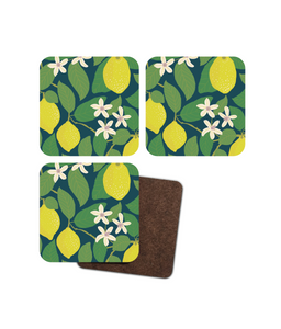 "Coasters, set of 4, ""Lemon Tree"""
