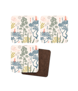 "Coasters, set of 4, ""Madeira Gardens"""