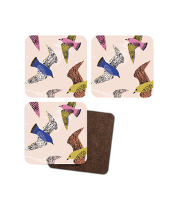 "Coasters, set of 4, ""Swooping Birds"""