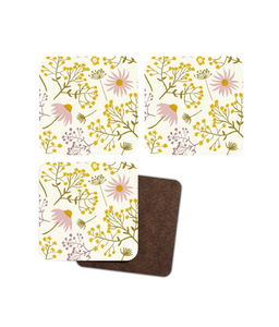 "Coasters, set of 4, ""Wildflower Walk"""